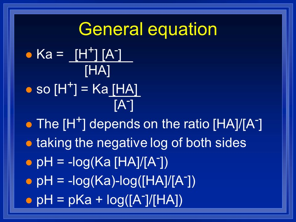 General equation Ka = [H+] [A-] [HA] so [H+] = Ka [HA] [A-]